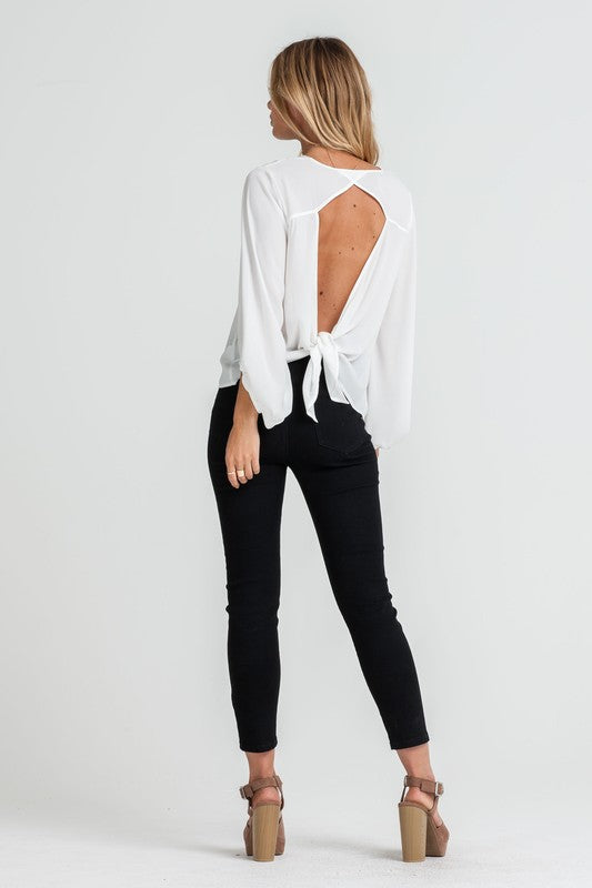 Blouse With Tied Open Back, LUSH, Blouse - Bobbi Rocco