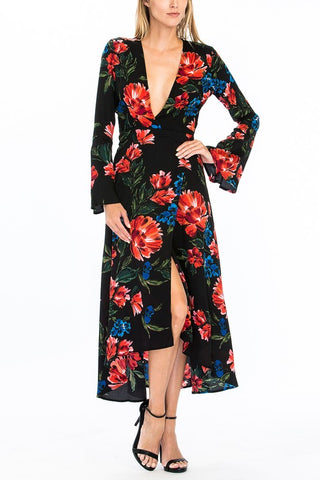 77-121LDJ Red Carnation Wrap Maxi Dress