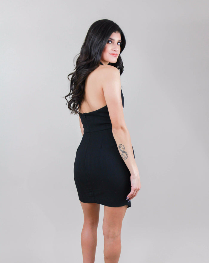 LD41822-S05 Halter Fitted Dress, LUSH, Dress - Bobbi Rocco