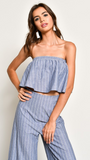 Stripe Tube Top And Bottom Set, BLUE BLUSH, Set - Bobbi Rocco