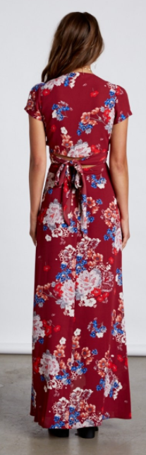 Floral Two Piece Set With Wrap Top and Skirt, COTTON CANDY, Set - Bobbi Rocco