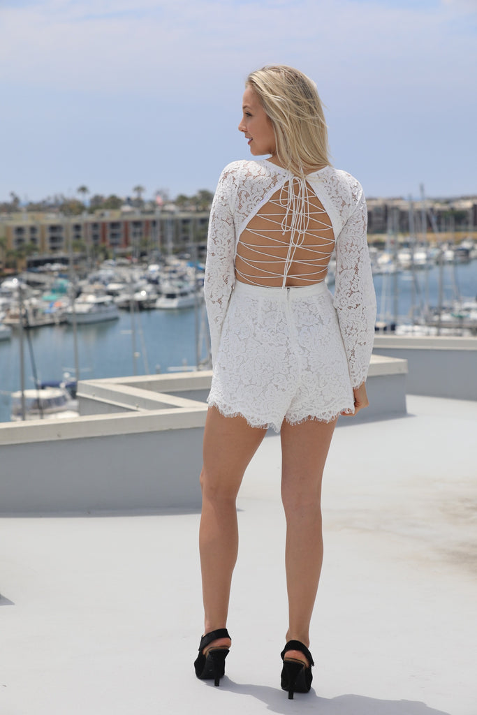 Long Sleeve Lace-Up Romper