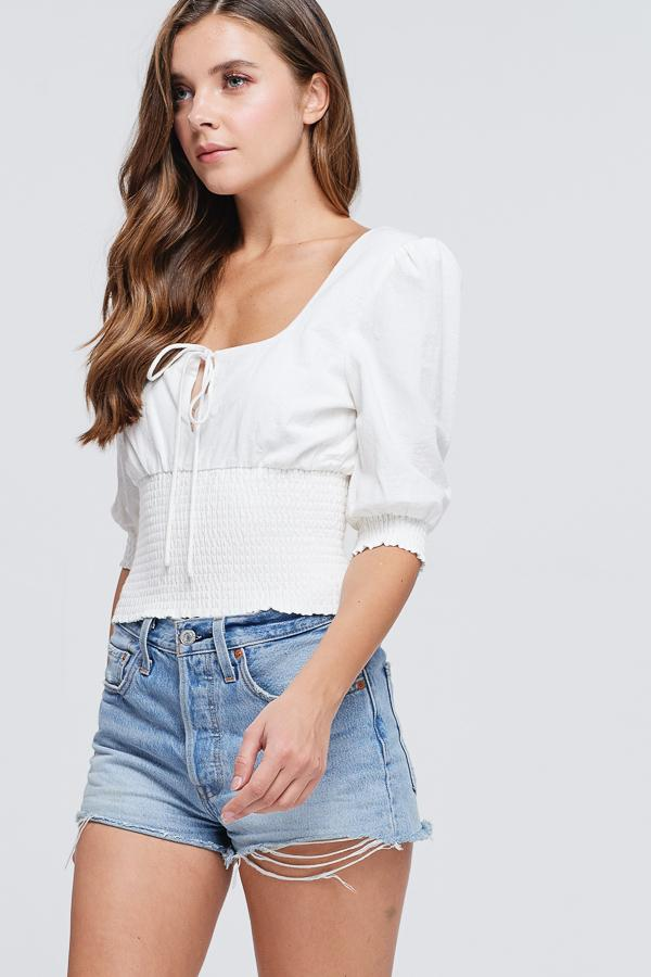 Smocked Up Linen Top