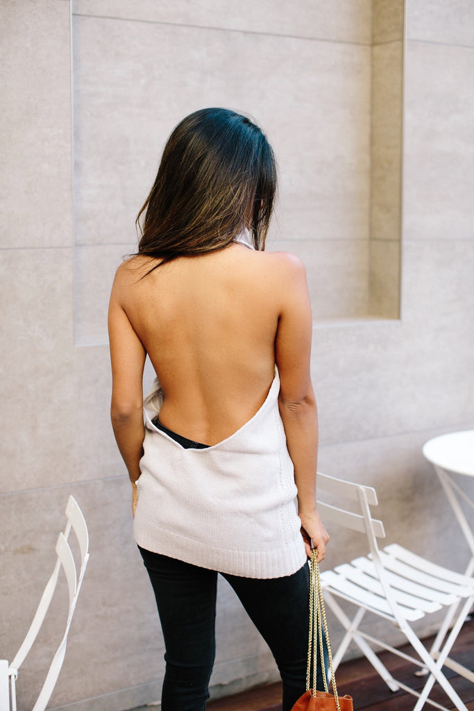 NT1344 Backless Turtleneck Knit Top