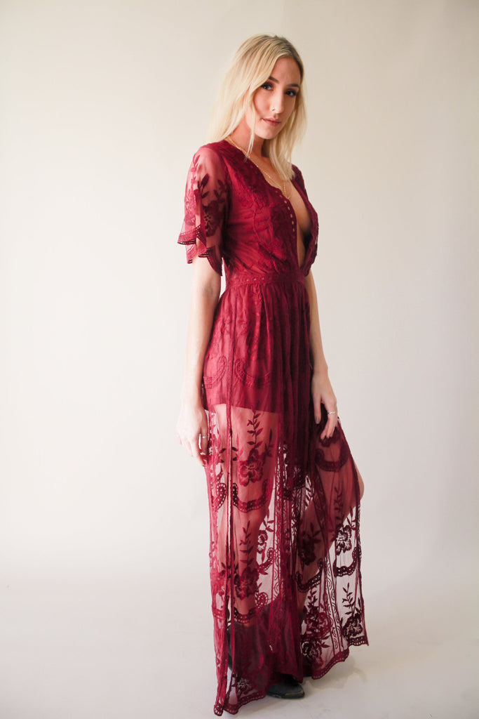 ID5009C Lace Overlay Maxi Dress With Shorts