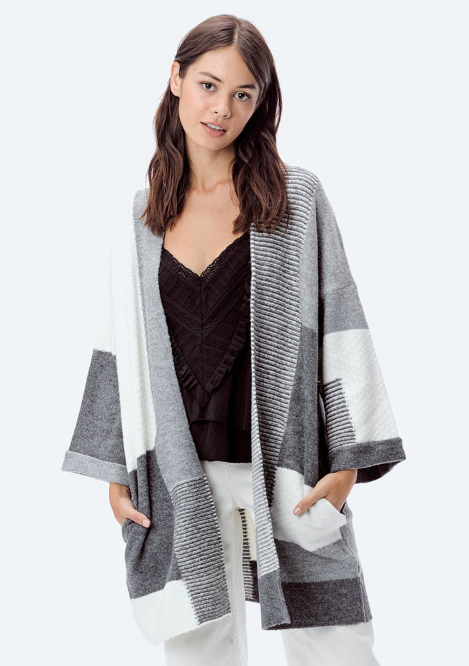 I-50613K Patchwork Coatigan