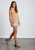 CS-8162 High Neck Short Sleeve Sweater With Side Ties, COTTON CANDY, Sweater - Bobbi Rocco
