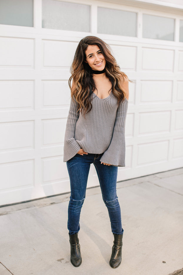 Off Shoulder Bell Sleeve Sweater, OLIVACEOUS, Sweater - Bobbi Rocco