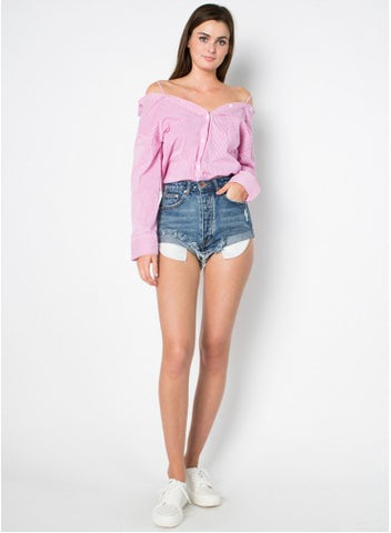 Side Rolled Up High Rise Denim Short