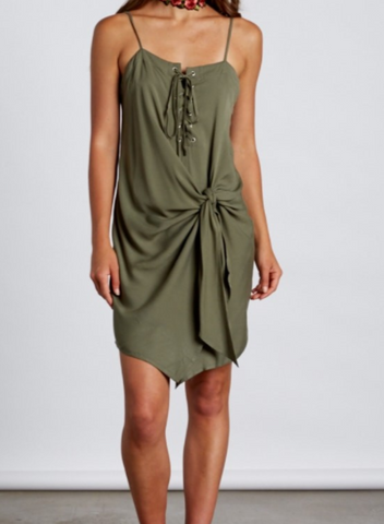 Olive Dress With Side Tie, COTTON CANDY, Dress - Bobbi Rocco