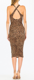Cheetah Midi Dress With Crossed Back and Scoop Neck, OLIVACEOUS, Dress - Bobbi Rocco