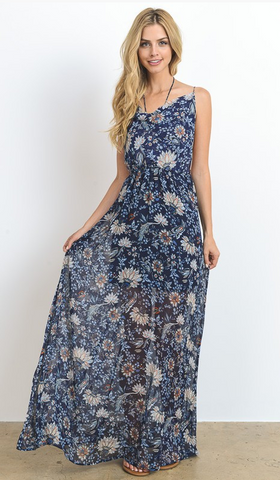Midi Floral Dress With Cowl Neck, HOMMAGE, Dress - Bobbi Rocco