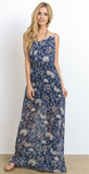 Midi Floral Dress With Cowl Neck