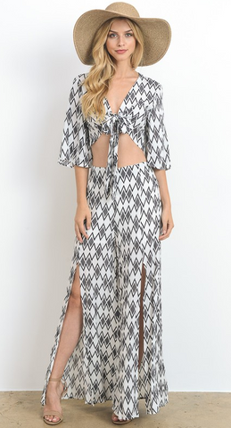 Kimono Inspired Crop Tie Top And Slit Pants Set, HOMMAGE, Set - Bobbi Rocco