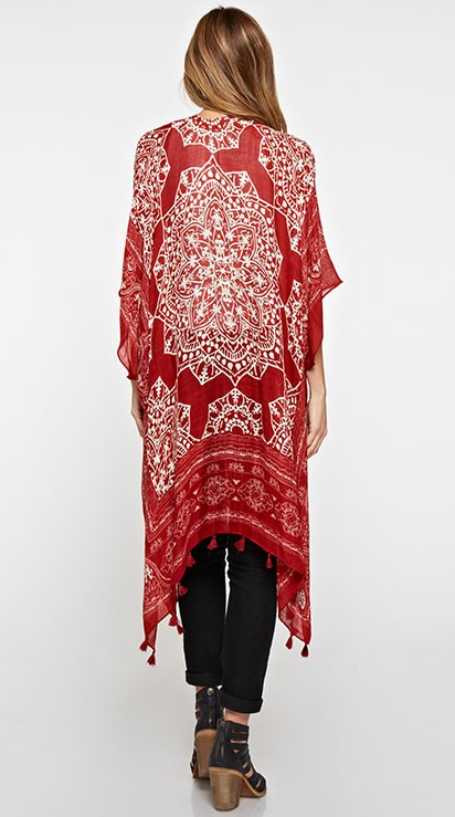 I-11360W Medallion Print Kaftan With Tassels, LOVESTITCH, Kaftan - Bobbi Rocco