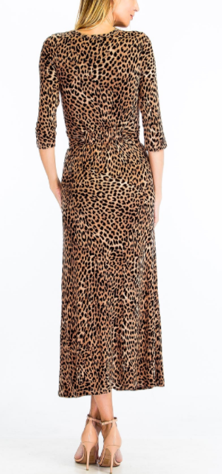 Long Sleeve Cheetah Midi Dress With Front Cutout, OLIVACEOUS, Dress - Bobbi Rocco