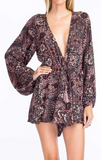Long Sleeve Mosaic Romper With Plunge Neckline, OLIVACEOUS, Romper - Bobbi Rocco