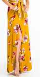 Hibiscus Maxi Skirt With Leg Slit, OLIVACEOUS, Maxi Skirt - Bobbi Rocco