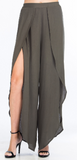 67-309LPJ Tulip Slit Pants With Draped Legs, OLIVACEOUS, Pants - Bobbi Rocco