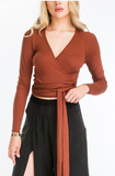 Long Sleeve Wrap Crop Top With Draped Front, OLIVACEOUS, Top - Bobbi Rocco