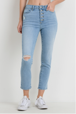 Button Up Destressed Skinny Jean