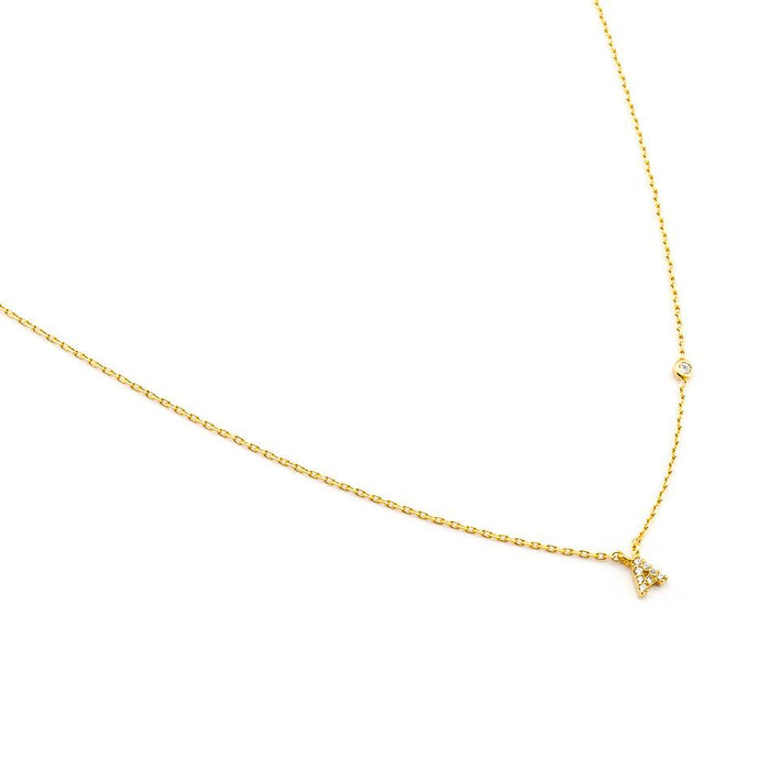 Gold Simple Chain Initial Necklace With Three CZ, TAI, Necklace - Bobbi Rocco