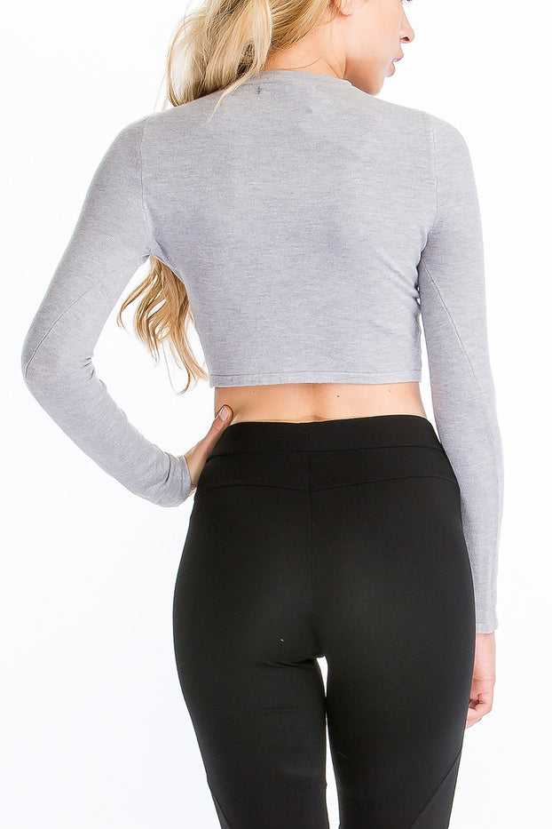 JT57-13 Knotted Cropped Sweater, OLIVACEOUS, Sweater - Bobbi Rocco
