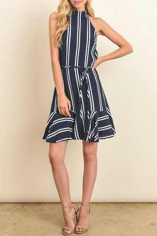 High Neck Striped Dress With Tie Around, DRESS FORUM, Dress - Bobbi Rocco