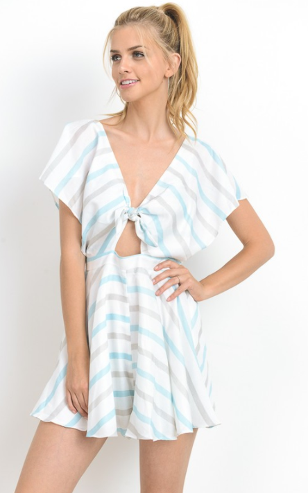 Striped Tied Front Romper, HOMMAGE, Dress - Bobbi Rocco
