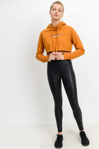 Moto Ribbed Knee Highwaisted Legging
