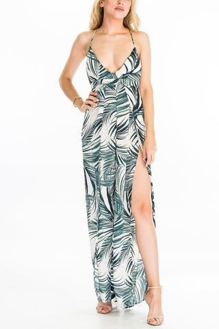 Desert Palm Jumpsuit With High Leg Slit, OLIVACEOUS, Jumpsuit - Bobbi Rocco