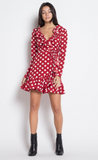 Wrap Ruffle Polka Dot Mini Dress, ETOPHE STUDIOS, Dress - Bobbi Rocco