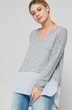 V-Neck Knit Top With Contrast Striped Hem, PROMESA, Sweater - Bobbi Rocco