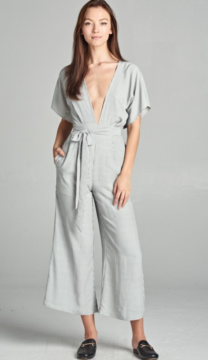 Low Cut Jumpsuit With Bow In Front, SKYLAR + MADISON, Jumpsuit - Bobbi Rocco