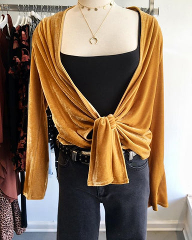 Velvet Wrap Front Top, SKYLAR + MADISON, Top - Bobbi Rocco