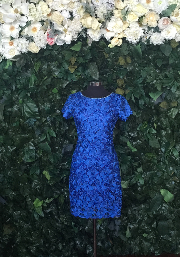 Lace Flutter Royal Blue-Sleeve Dress