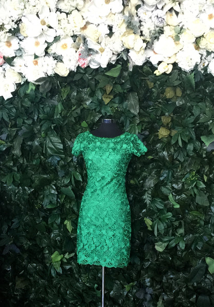 Lace Flutter Emerald-Sleeve Dress
