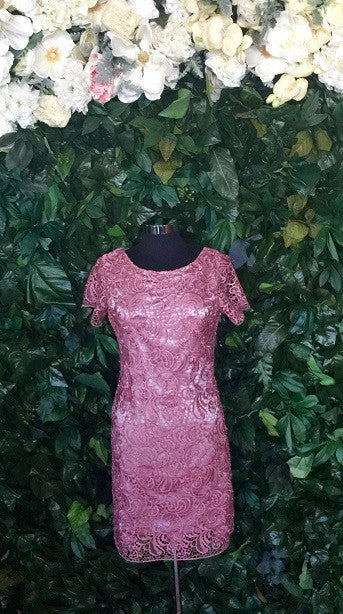 Lace Flutter Dusty Pink-Sleeve Dress