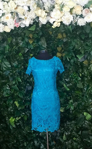 Lace Flutter Turquoise -Sleeve Dress