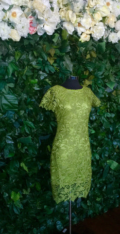 Lace Flutter Yellow Green-Sleeve Dress