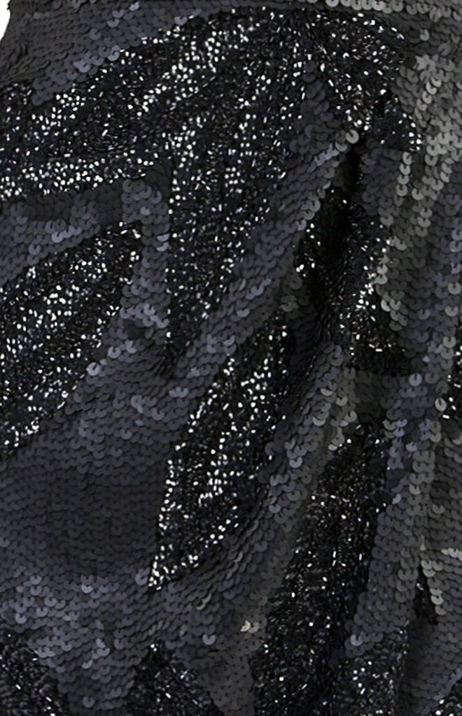 Black Akemi Wrap Sequin Dress