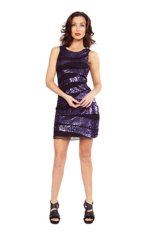 Amethyst Slash Sequin Dress
