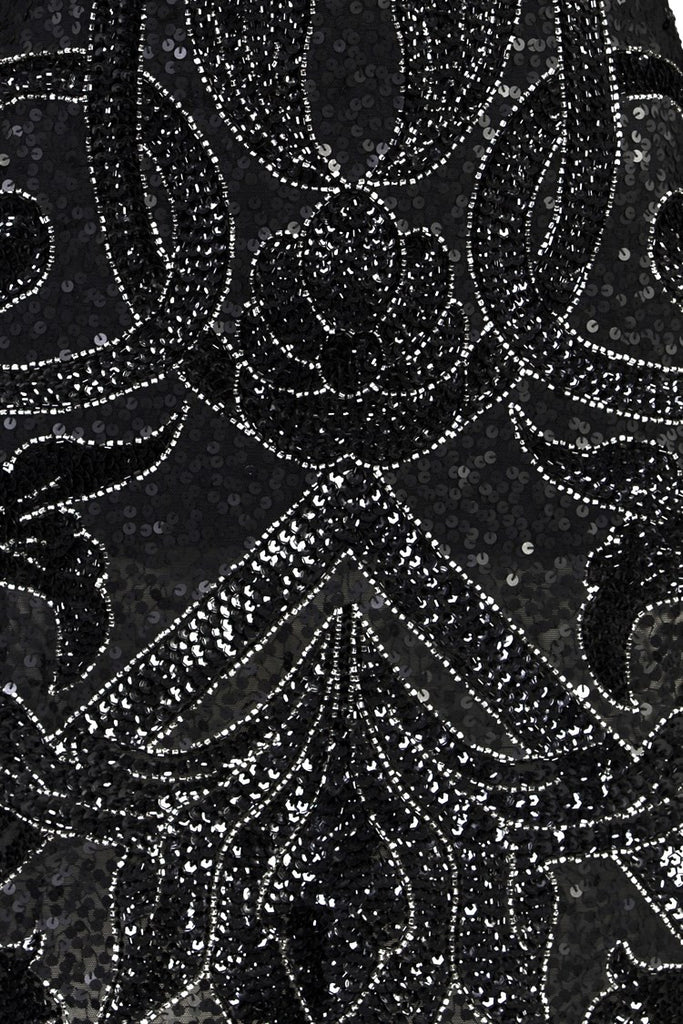 Vandella Black Full beaded-Long Sleeve Sequins
