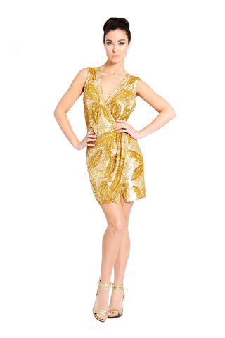 Gold Akemi Wrap Sequin Dress