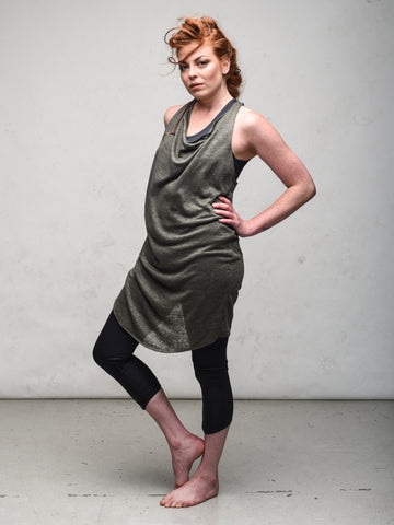 Delphine dress sage and ellipse capri charcoal