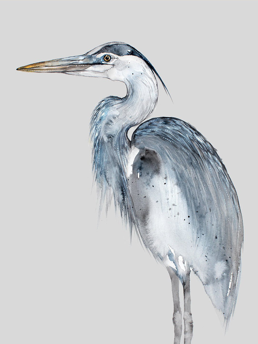 Akamina Blank Cards with Artist Illustration Blue Heron