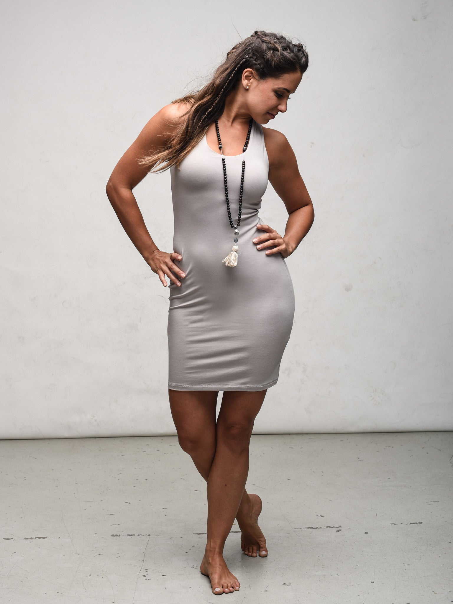 Yoga tank dress with built in bra shelf in soft bamboo jersey by Zen Nomad