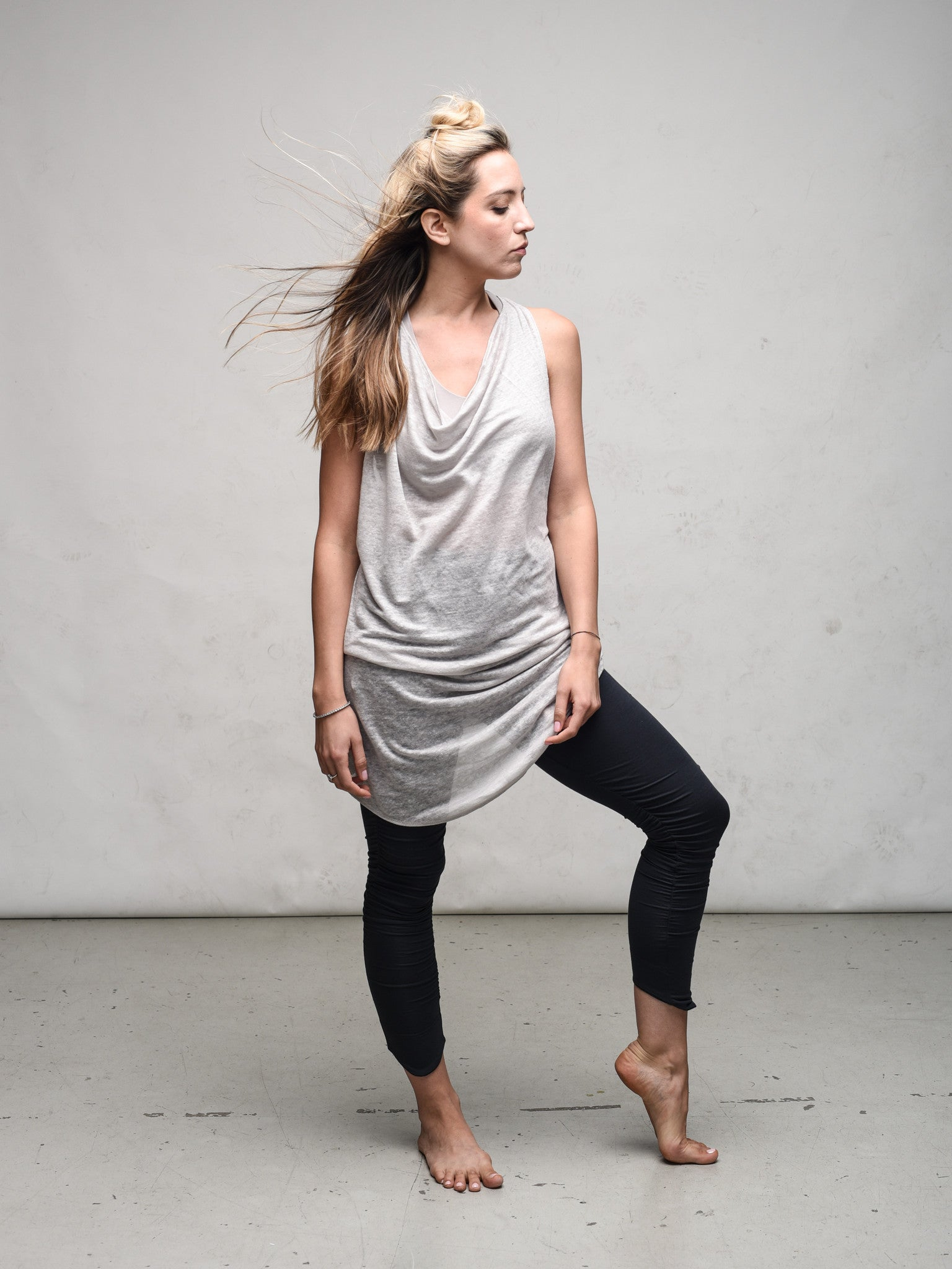 Linen Knit racer back tank tunic Delphine dress by Zen Nomad