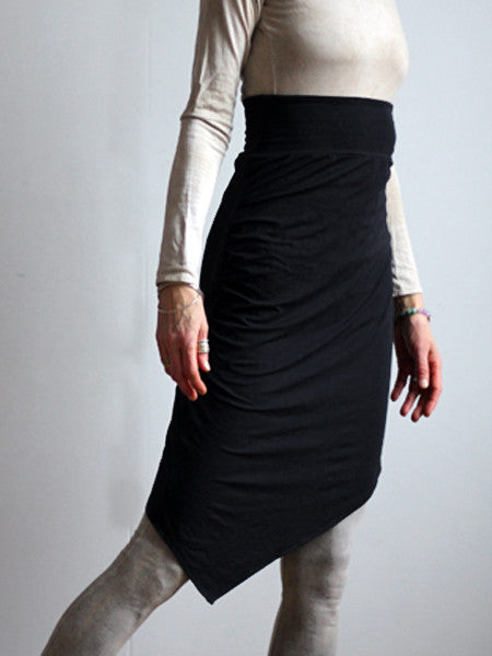 High Waist Knit Skirt in Black merino wool lined with soft bamboo spandex jersey