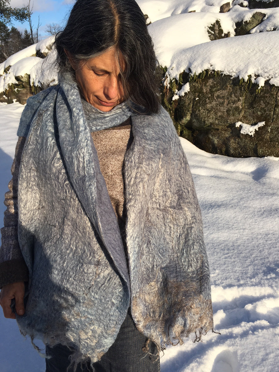 Rivers Edge Hand Felted Large Scarf - Sky - One of a Kind